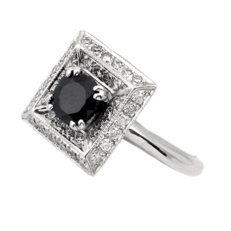 f947a64b4d167 18K Gold, Sapphire & Diamond Ring - Vintage Sapphire Ring- Square White  Gold Setting - 40 Diamonds- Size 6