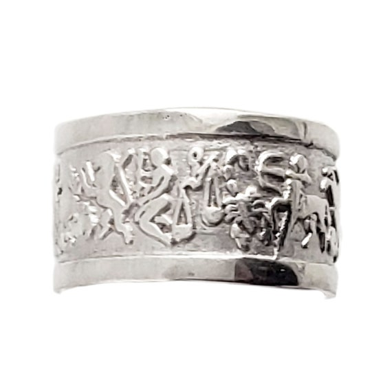 Vintage Sterling Silver Zodiac Ring - Wide Band -