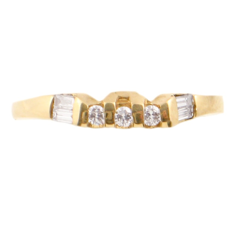 14K Diamond Wedding Band New Old Stock Wedding Ring in 14K Yellow Gold with Diamonds Size 6