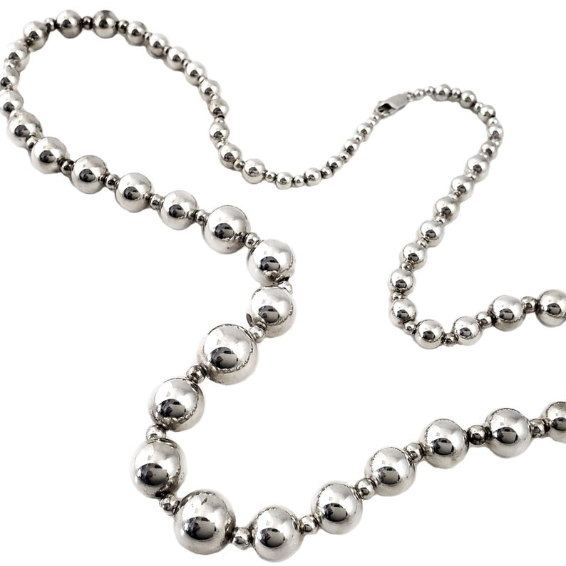 d19639ed99872 Vintage Sterling Silver Bead Necklace - Small to Large Beads - 30