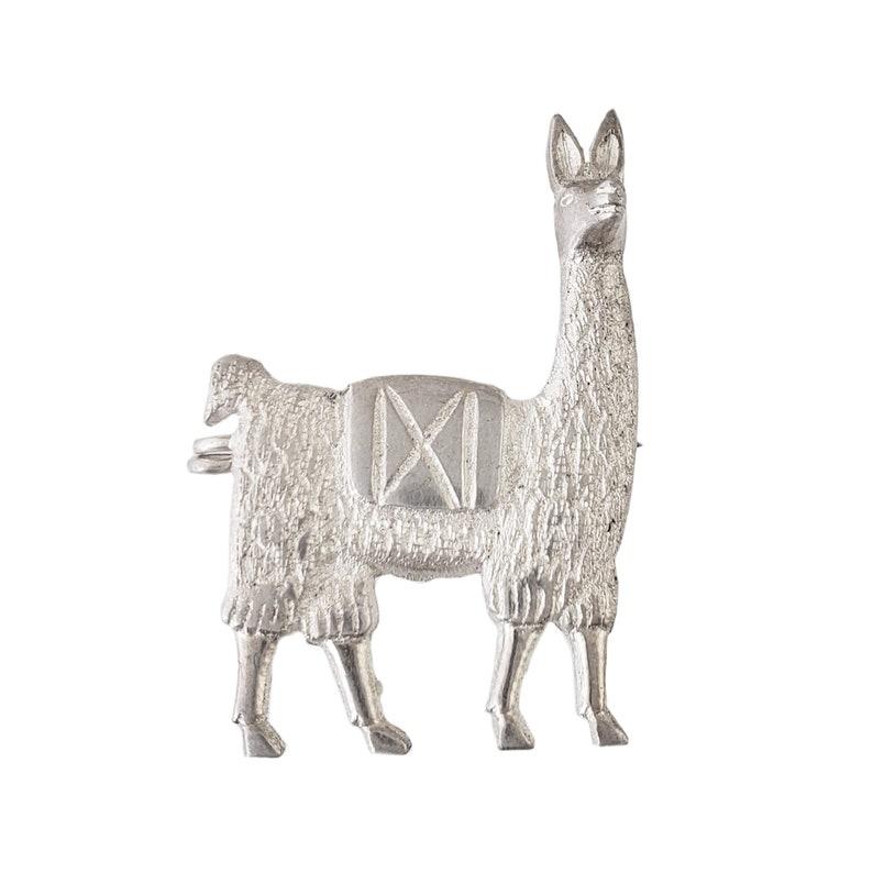 Peru Souvenir 1.25  Tall Vintage Sterling Silver Llama Brooch