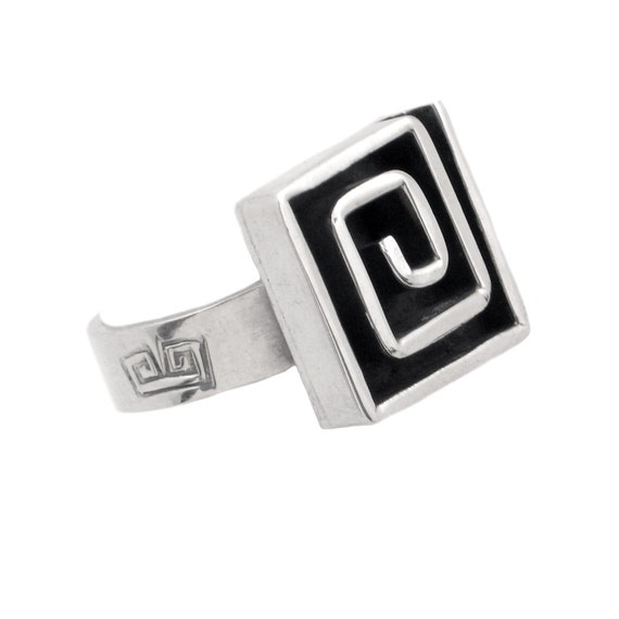 Sterling Silver Square Spiral Ring - Vintage Mexic