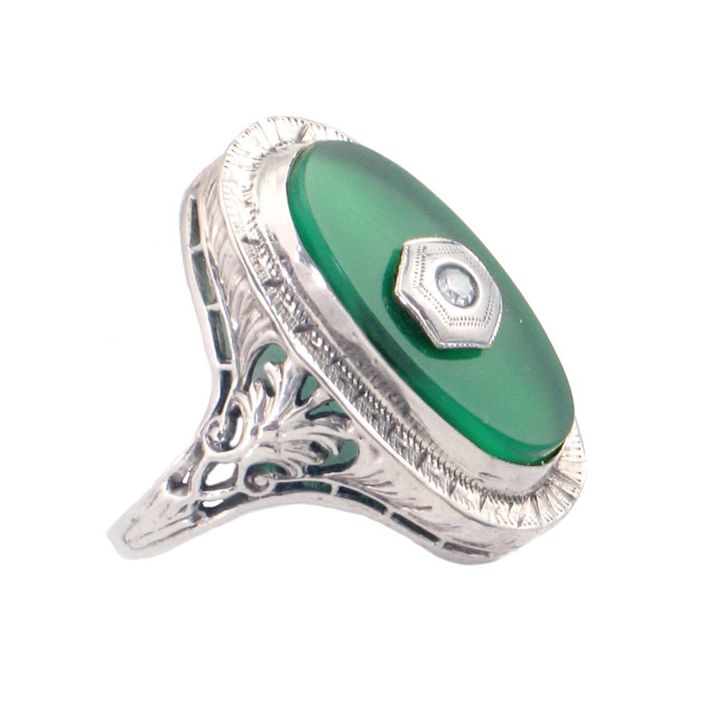 76581374fc22 Art Deco Ring in 14K White Gold   Green Glass with Diamond