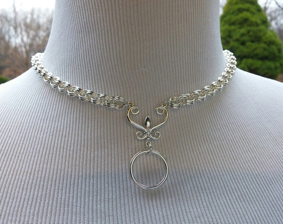 925 Sterling Silver Discreet Symbolic O Ring Day Collar Necklace with Fleur De Lis, BDSM Day Collar