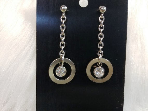 Stainless Steel Symbolic O Ring Earrings with Personalized Swarovski Birthstone Crystal Setting, BDSM Jewelry, DDLG