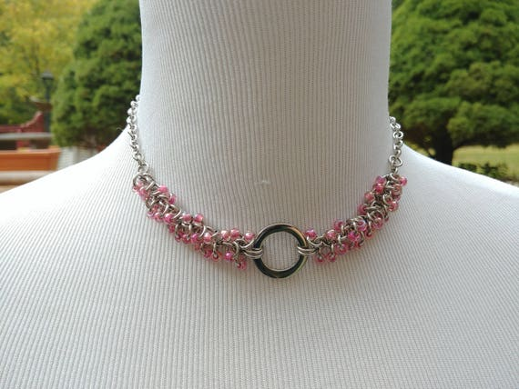 24/7 Wear Discreet Symbolic O Ring Day Collar Necklace, Submissive Slave Collar, DDLG, Stainless Steel with Pink Beaded Shaggy Loops