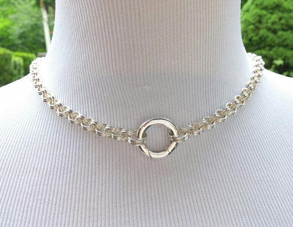 925 Sterling Silver Discreet BDSM Slave Collar, Submissive Day Collar with Non-Locking O Ring or Heart Clasp, Symbolic O Ring Collar