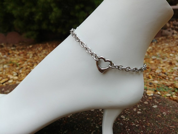 24/7 Stainless Steel Discreet BDSM Submissive Heart Anklet, Slave Anklet, Ankle Collar, Day Collar, 3 Styles Available