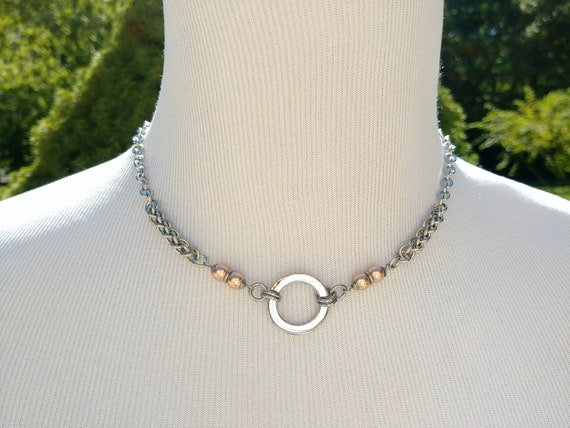 24/7 Wear Discreet Symbolic O Ring Day Collar Necklace with Swarovski Crystal Pearl, 4 Color Options, BDSM Submissive Slave Collar, DDLG