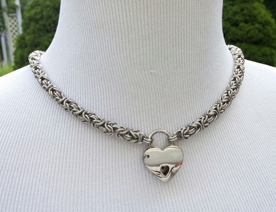 BDSM Discreet Day Collar, Submissive Locking Slave Collar, DDLG, Stainless Steel Chainmaille with Small Heart Shaped Nickel Padlock