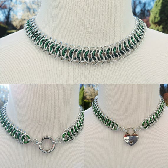 BDSM Discreet Day Collar, Submissive Locking Slave Collar, DDLG, Convertible Chainmaille Collar with Color Options, Can Be Worn 3 Ways
