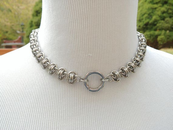 24/7 Wear Discreet Symbolic O Ring Day Collar, Submissive Slave Collar, DDLG, Stainless Stainless Steel Chainmaille and O Ring Clasp