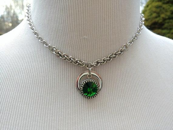 24/7 Wear Discreet Symbolic O Ring Day Collar Necklace, Personalized Swarovski Birthstone Crystal, BDSM Submissive Collar, DDLG