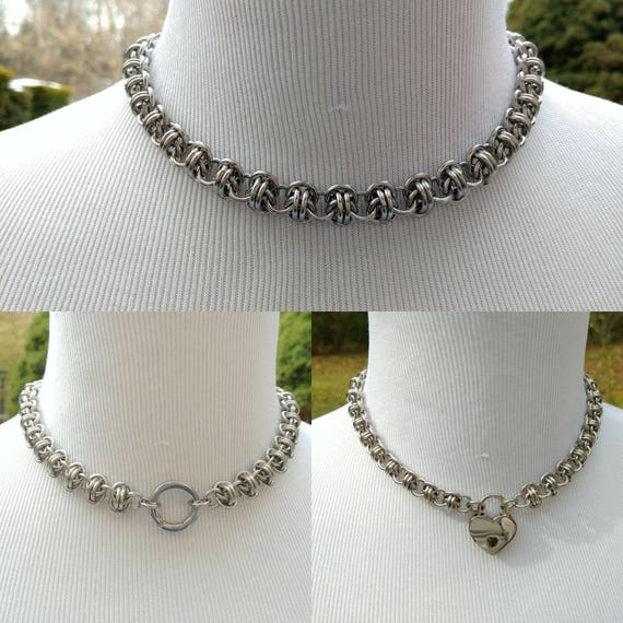 BDSM Discreet Day Collar, Submissive Locking Slave Collar, DDLG, Stainless Steel Convertible Chainmaille Collar, Can Be Worn 3 Ways