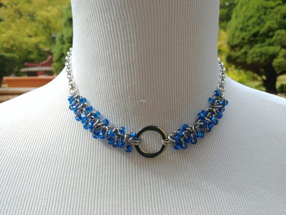 24/7 Wear Discreet Symbolic O Ring Day Collar Necklace, Submissive Slave Collar, DDLG, Stainless Steel with Blue Beaded Shaggy Loops