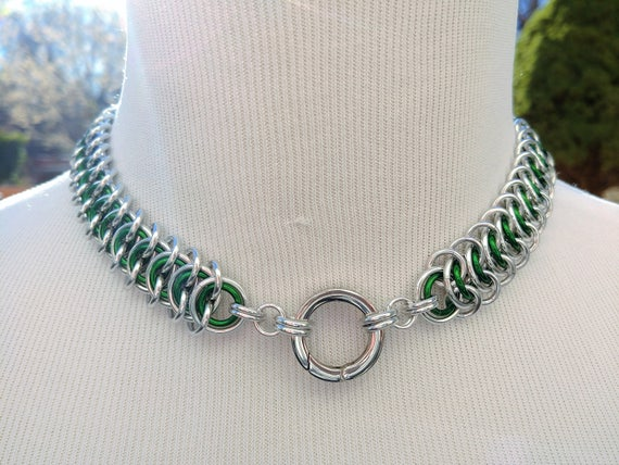 24/7 Wear BDSM Discreet Day Collar, Submissive Slave Collar, DDLG, Chainmaille Collar with Color Options, Non-Locking Stainless O Ring Clasp