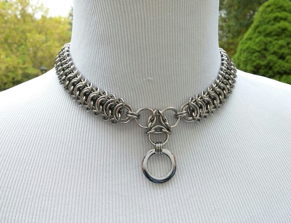 24/7 Wear Discreet Symbolic O Ring Day Collar, BDSM Submissive Slave Collar, Chainmaille Collar, Stainless Steel, DDLG