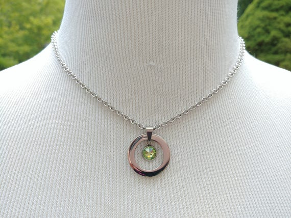 24/7 Wear Discreet Symbolic O Ring Day Collar Necklace with Personalized Swarovski Birthstone Crystal Options, BDSM Submissive Collar, DDLG