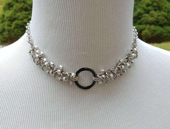 24/7 Wear Discreet Symbolic O Ring Day Collar Necklace, Submissive Slave Collar, DDLG, Stainless Steel with Clear Frost Beaded Shaggy Loops