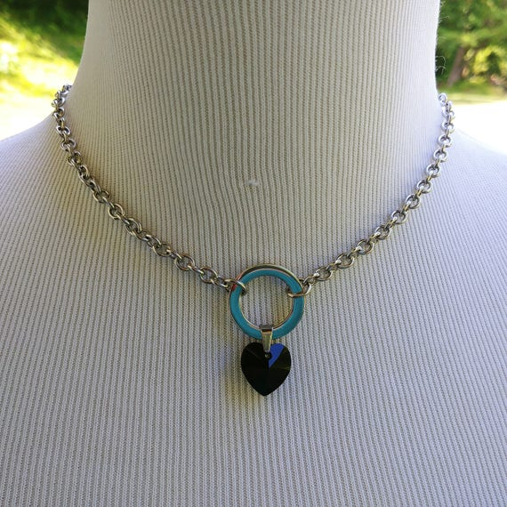 24/7 Wear Discreet Symbolic O Ring Day Collar Necklace with Swarovski Crystal Heart Color Options, BDSM Submissive Collar, DDLG