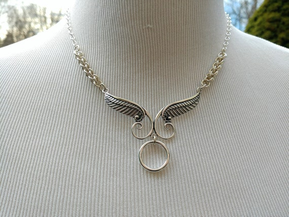 925 Sterling Silver Discreet Day Collar Necklace with Angels Wings and O Ring, BDSM Jewelry, DDLG, Submmisive Jewelry