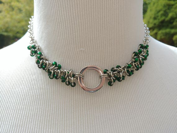 24/7 Wear Discreet Symbolic O Ring Day Collar Necklace, Submissive Slave Collar, DDLG, Stainless Steel with Emerald Green Bead Shaggy Loops
