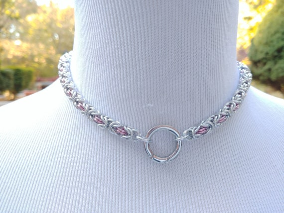 24/7 WEAR Discreet Symbolic O Ring Day Collar, BDSM Submissive Slave Collar, Chainmaille Collar with Color Options, Push Gate Ring Clasp