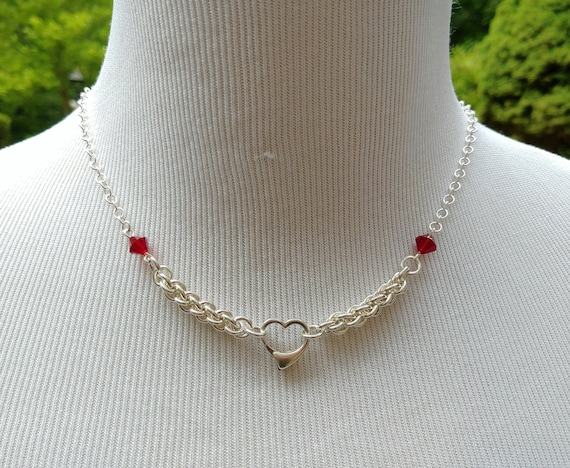 925 Sterling Silver Discreet Symbolic Heart Necklace, BDSM Submissive Day Collar, DDLG, Eternal Love, Swarovski Crystal Color Options