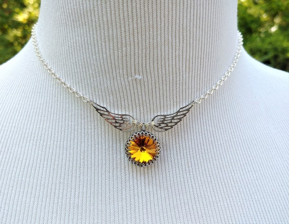 925 Sterling Silver Discreet Day Collar Necklace with Angel Wings and Personalized Swarovski Birthstone Crystal, BDSM Jewelry, DDLG