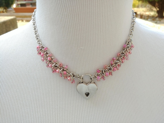 Discreet Symbolic Locking Day Collar Necklace, Submissive Slave Collar, DDLG, Stainless Steel with Color Choice Bead Shaggy Loops