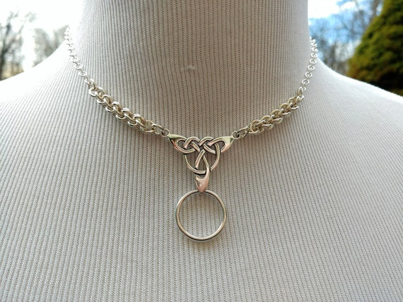 925 Sterling Silver Discreet Day Collar Necklace with Celtic Triquetra Pendant and O Ring, BDSM Jewelry, DDLG