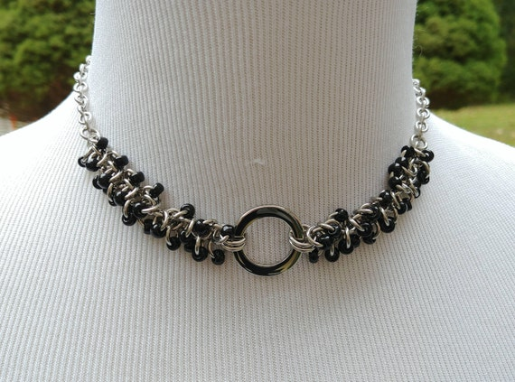 24/7 Wear Discreet Symbolic O Ring Day Collar Necklace, Submissive Slave Collar, DDLG, Stainless Steel with Shiny Black Beaded Shaggy Loops