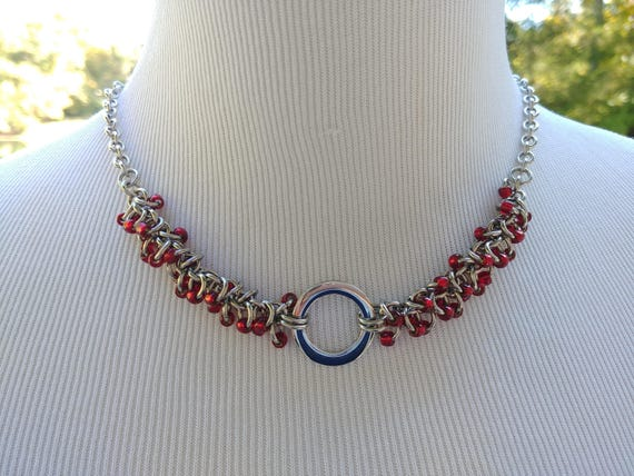24/7 Wear Discreet Symbolic O Ring Day Collar Necklace, Submissive Slave Collar, DDLG, Stainless Steel with Garnet Red Beaded Shaggy Loops