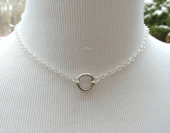 925 Sterling Silver Discreet Symbolic O Ring Necklace, BDSM Submissive Day Collar, DDLG