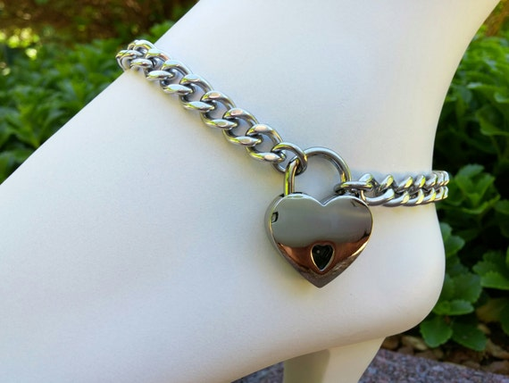 BDSM Discreet Locking Anklet, Submissive Slave Anklet, Day Collar, Ankle Collar Stainless Steel Curb Chain with Heart Shaped Nickel Padlock