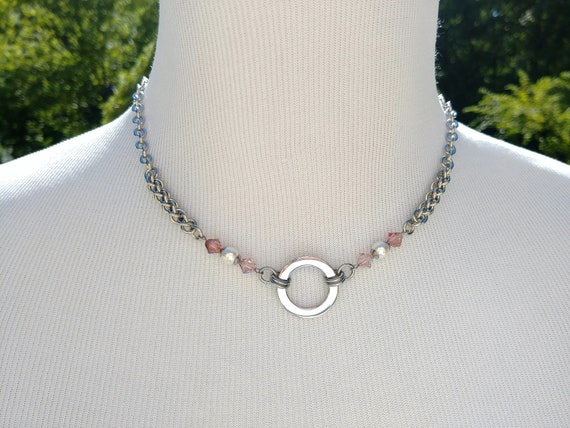 24/7 Wear Discreet Symbolic O Ring Day Collar Necklace with Swarovski Crystal Pearls, BDSM Submissive Slave Collar, DDLG, Baby Girl Collar