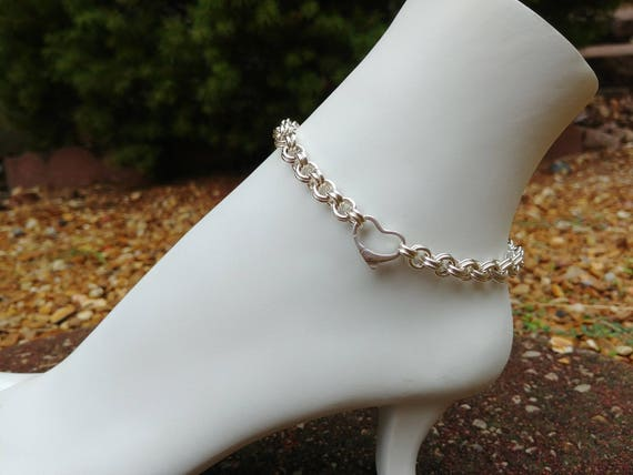 925 Sterling Silver Anklet with Floating Heart Clasp, Ankle Jewelry