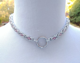 Discreet Symbolic O Ring Day Collar, BDSM Submissive Day Collar, Chainmaille Collar with Color Option, Non Locking Ring Clasp, Kink Collar