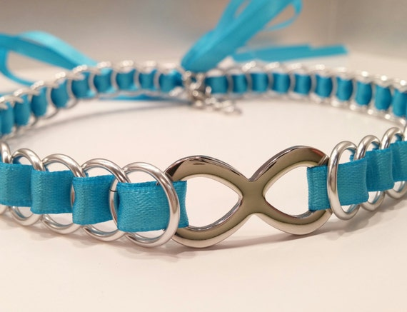 Ribbon Maille BDSM Discreet Day Collar Choker with Infinity Symbol, Many Colors Available