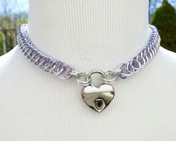 BDSM Discreet Day Collar, Submissive Locking Slave Collar, DDLG, Chainmaille Collar with Color Options, Small Heart Shaped Nickel Padlock