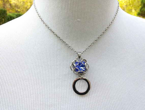 24/7 Wear Discreet Symbolic O Ring Day Collar Necklace with Personalized Swarovski birthstone Crystal, BDSM Submissive Slave Collar, DDLG