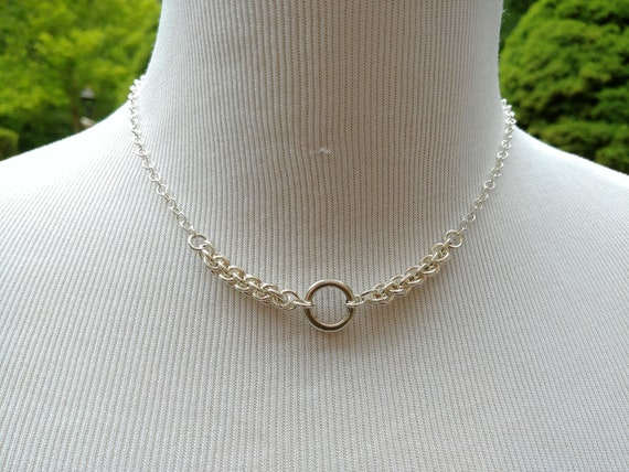 925 Sterling Silver Discreet Symbolic O Ring Necklace With Non-Locking Ring Clasp, BDSM Submissive Day Collar, DDLG