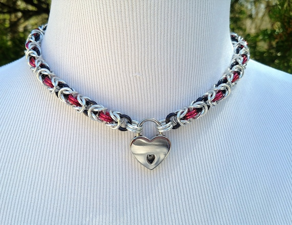Dual Color BDSM Discreet Day Collar, Submissive Locking Collar with Heart Shaped Nickel Padlock, Kink and Fetish Jewelry, Choose Your Colors
