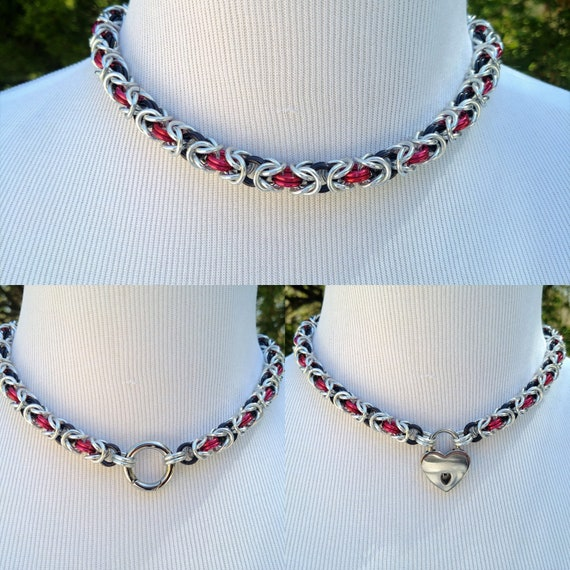 Dual Color BDSM Discreet Day Collar, Submissive Slave Collar, DDLG, Convertible Chainmaille Collar, Choose 2 Colors, Can Be Worn 3 Ways