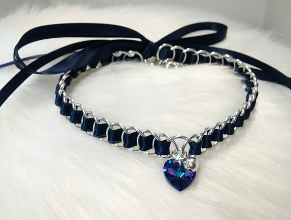 Discreet Ribbon Maille Submissive Day Collar with Swarovski Crystal Heart Pendant and Bell, DDLG, Baby Girl