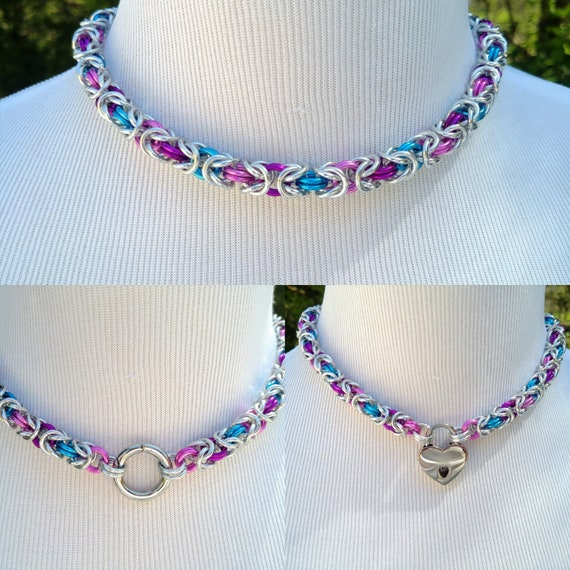 Multi Color BDSM Discreet Day Collar, Submissive Slave Collar, DDLG, Convertible Chainmaille Collar, Choose Your Colors, Can Be Worn 3 Ways