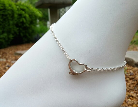 925 Sterling Silver Anklet with Floating Heart Clasp, Discreet BDSM Slave Anklet