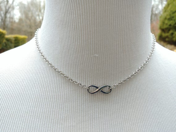 24/7 Wear Stainless Steel Discreet Infinity Symbol Day Collar Necklace, Submissive BDSM Jewelry, DDLG, Petite Cable Chain Necklace