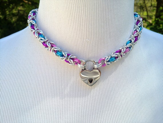 Multi Color BDSM Discreet Day Collar, Submissive Locking Collar and Heart Shaped Nickel Padlock, Kink and Fetish Jewelry, Choose Your Colors