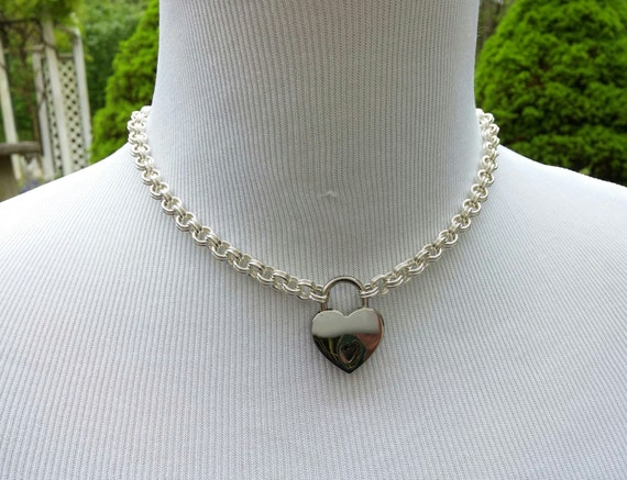 925 Sterling Silver Discreet Locking Day Collar BDSM Submissive Slave Collar with Small Heart Shaped Nickel Padlock